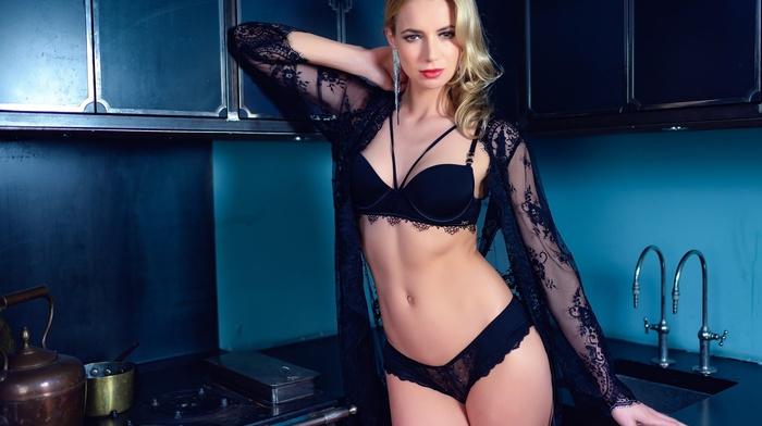kitchen, blonde, black lingerie, model, Martin Zethoff, girl