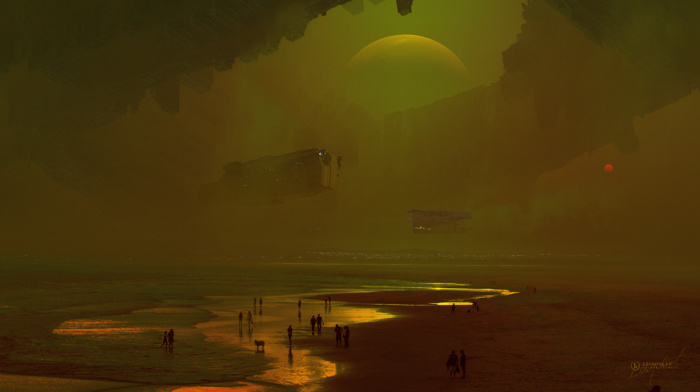 sea, beach, people, pollution, digital art