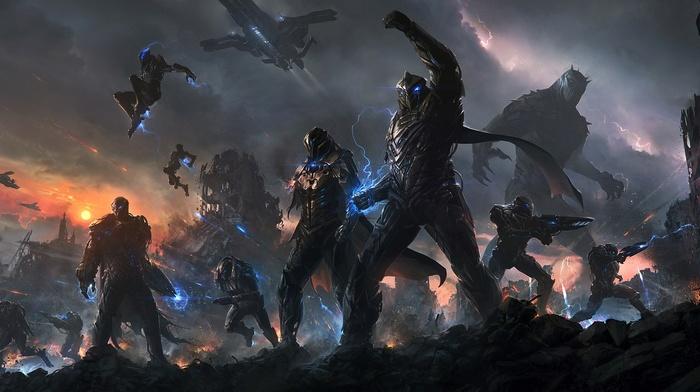 battle, futuristic, digital art, futuristic armor