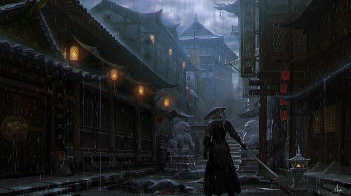 rain, Imperial City, artwork, samurai