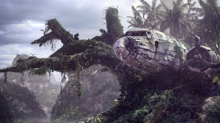 wreck, forest, palm trees, airplane, digital art