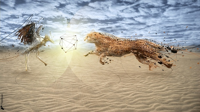 circle, desert, animals, clouds, wavy lines, sun rays, photo manipulation, dots, cranes bird, artwork, sand, low poly, nature, digital art, birds, cheetah