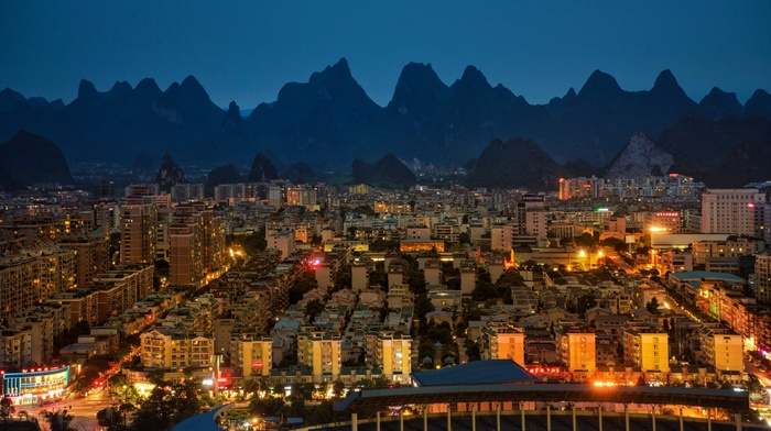 evening, lights, city, China, architecture, building, cityscape, mountain, street light