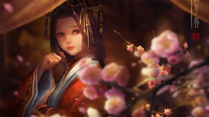 original characters, kimono, traditional clothing