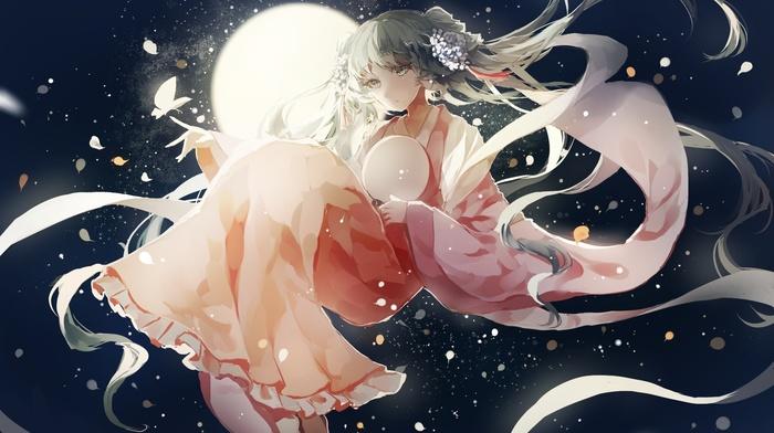 Vocaloid, Hatsune Miku, butterfly, twintails, kimono
