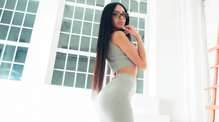 juicy lips, long hair, skinny, girl, ass, Ivan Gorokhov, brunette, glasses