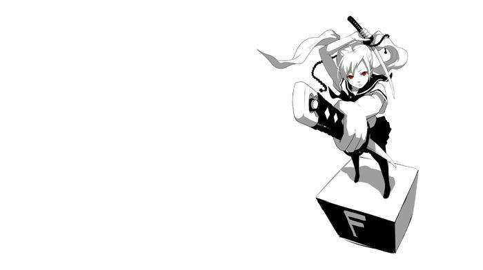 sword, monochrome, original characters, katana, red eyes, anime girls, school uniform