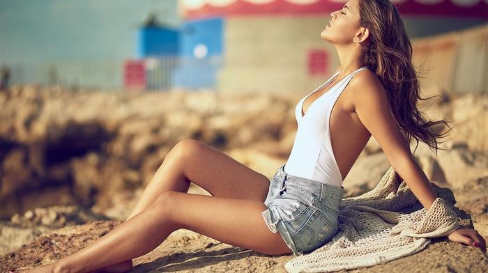 closed eyes, sitting, model, brunette, jean shorts, Yoram Attia, sunbathing, One, piece swimsuit, girl
