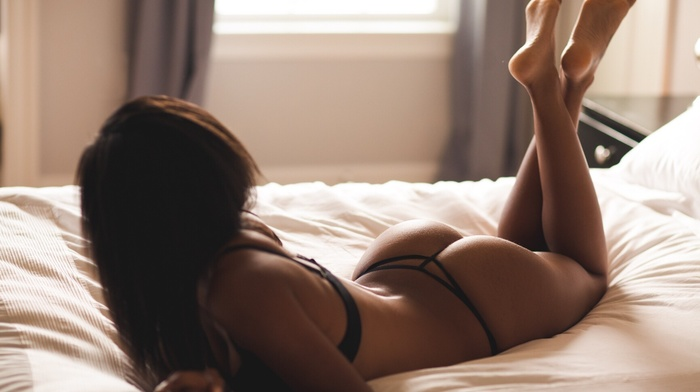 ass, back, model, looking away, in bed, legs up, black lingerie, girl, Marco Ibanez