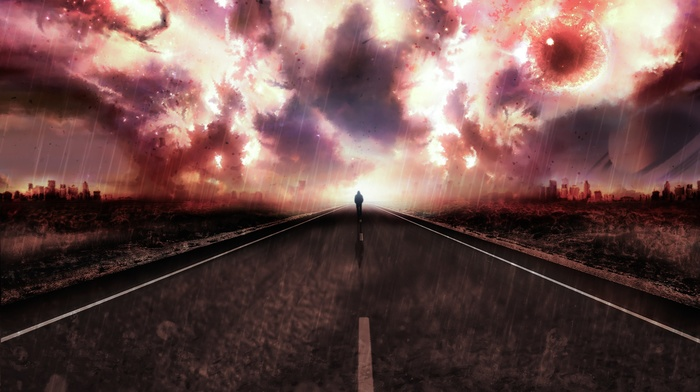 city, walking, explosion, planet, road