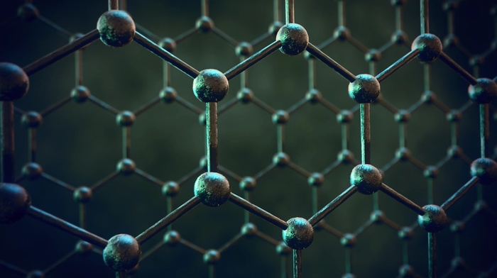 texture, structure, simple, graphene, depth of field, blurred, atoms, ball, minimalism, hexagon, chemical structures, digital art, simple background