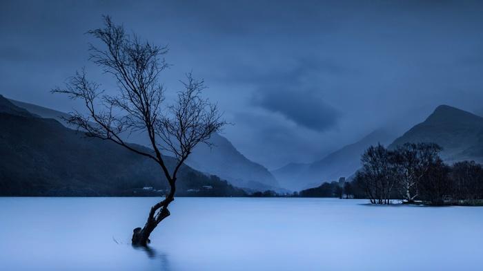 horizon, water, mist, clouds, landscape, UK, trees, Wales, nature, evening, national park, mountain
