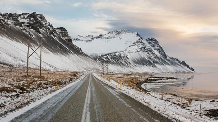 nature, sunrise, lake, Iceland, mountain, winter, road, Reykjavik, snow, clouds, landscape, utility pole, snowy peak