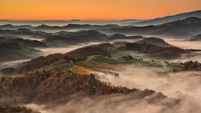 fall, road, Slovenia, landscape, mountain, nature, sunrise, forest, field, village, mist