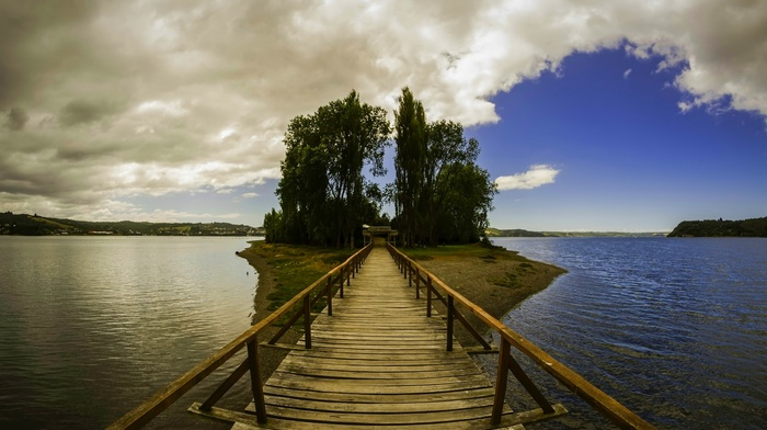 landscape, nature, wooden surface, trees, island, Chile, clouds, hill, bridge, sea