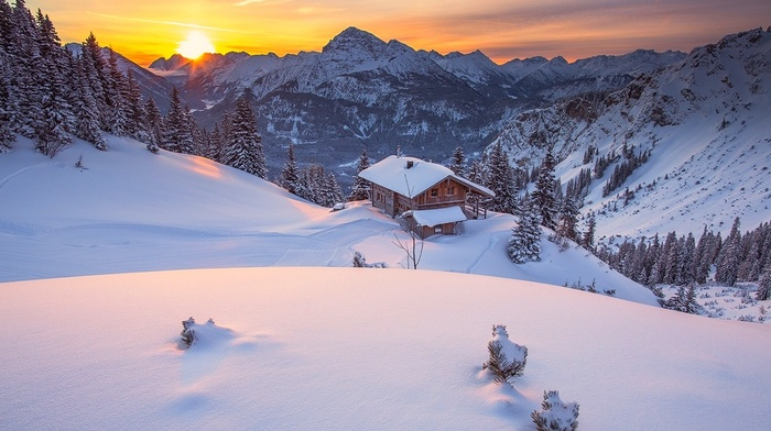 sunrise, nature, cabin, snow, sky, winter, pine trees, landscape, Tyrol, forest, mountain