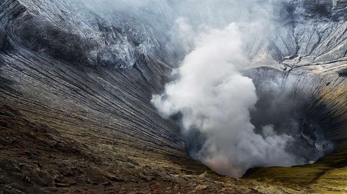 smoke, volcano, landscape, nature, Poison, Mount Bromo, heat, Indonesia, crater