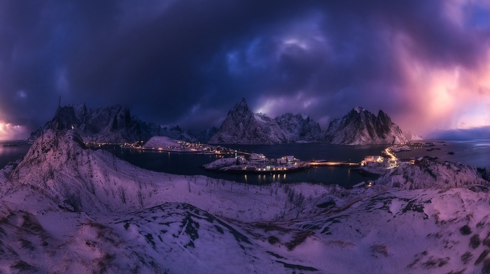 clouds, landscape, winter, cold, lights, snow, panoramas, Reine, Lofoten Islands, sea, sky, mountain, Norway, nature