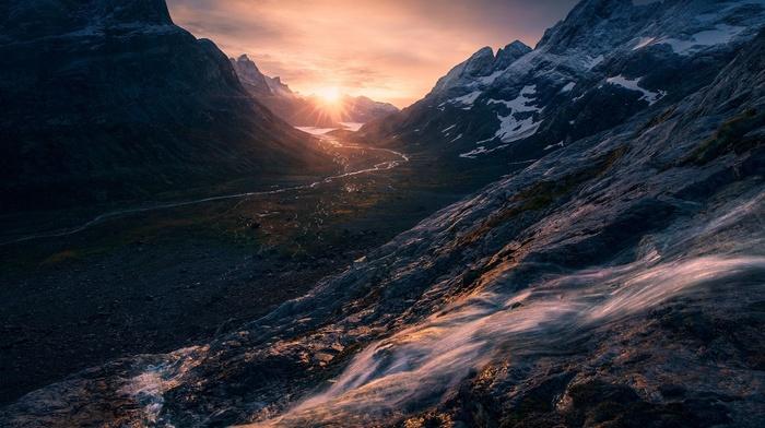 valley, landscape, creeks, river, snowy peak, sky, Greenland, sunlight, nature, mountain, sunrise