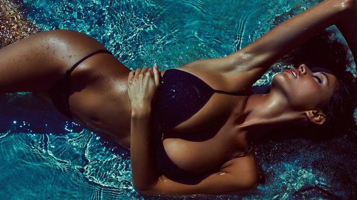closed eyes, tanned, Martin Strauss, girl, brunette, wet body, bikini, cleavage