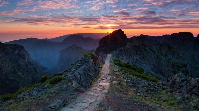 sunset, path, nature, rock