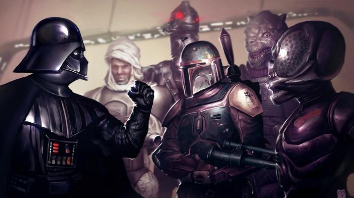 bounty hunter, artwork, concept art, Darth Vader, 4, LOM, Boba Fett, Star Wars, IG, 88, Dengar, Bossk