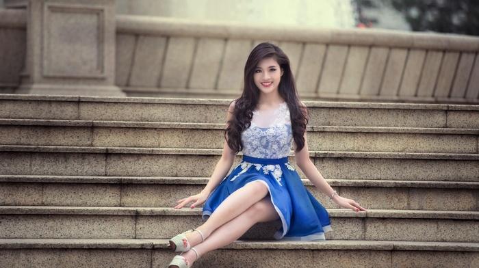 dress, girl, blue, skirt, heels, brunette, high heels, legs, hair, Asian