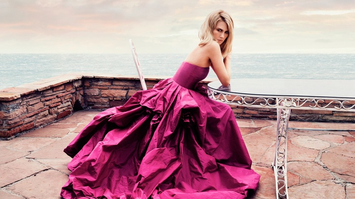 evening, horizon, girl, dress, hair, sky, sea, purple, blonde, prom