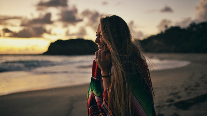 smiling, beach, sky, nature, sea, hill, blonde, sand, girl, hair