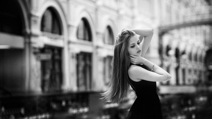 dress, monochrome, hair, urban, city, black, girl