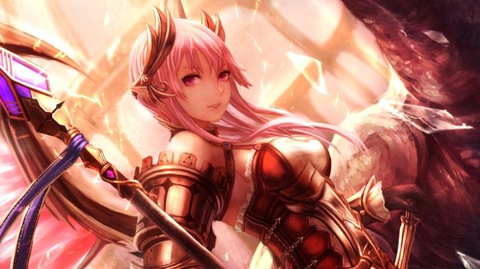 anime girls, pink hair, anime, original characters, staff, armor