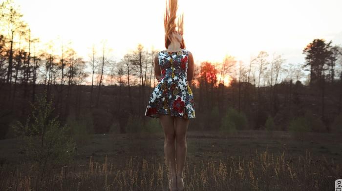 brunette, nature, grass, girl, trees, dress, klad ilya, hair, forest, legs