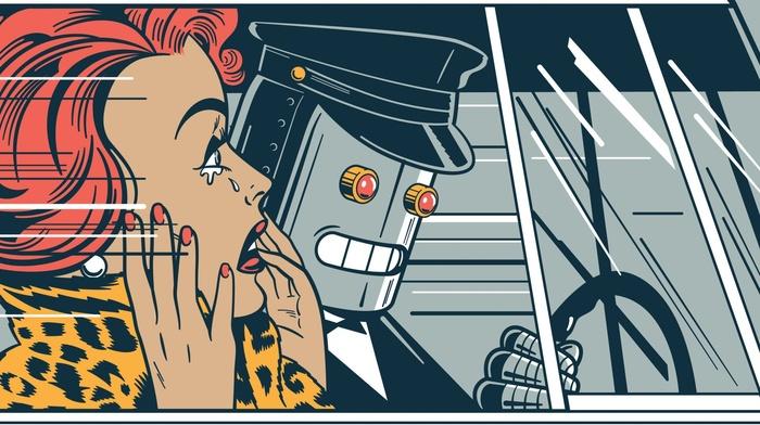 robot, car, Driver, red eyes, futuristic, car interior, redhead, girl, vintage, digital art, drawing, fantasy art, crying, hat