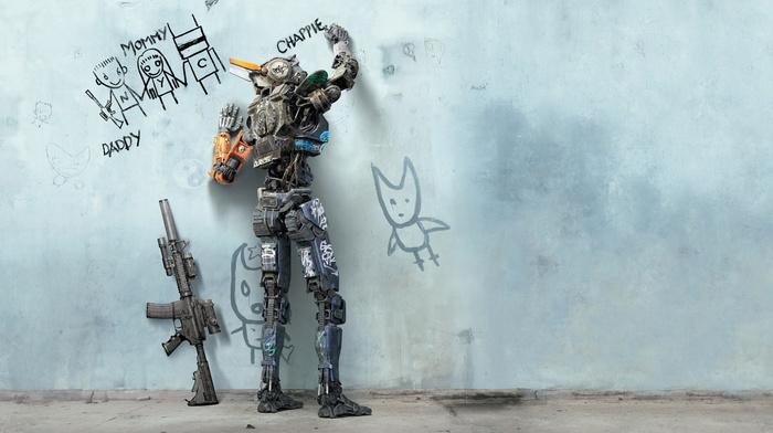walls, digital art, drawing, machine gun, writing, movie poster, Chappie, movies, robot