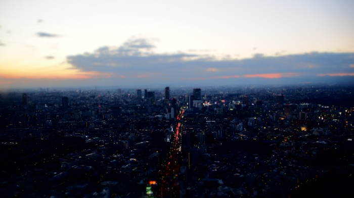 Tokyo, Japan, landscape, tilt shift, sunset