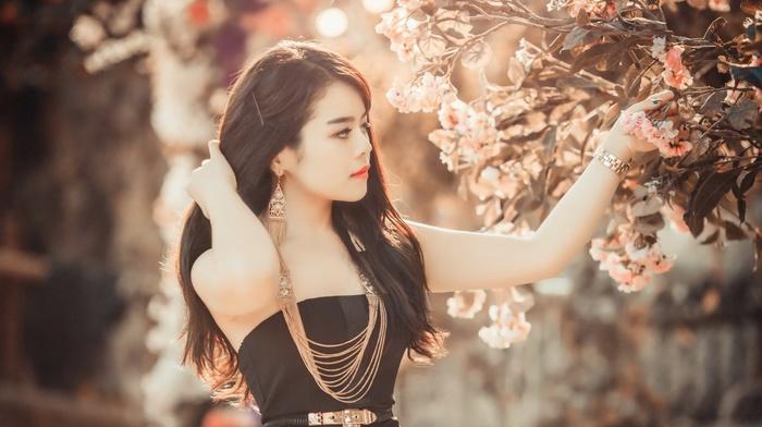 face, brunette, Asian, girl, prom, dress, hair, trees, pink, black, flowers