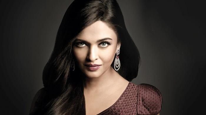 prom, girl, dress, Aishwarya Rai Bachchan, brunette, face, looking at viewer, hair