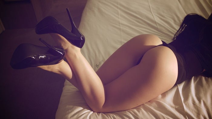 ass, legs, thong, high heels, girl, brunette, in bed
