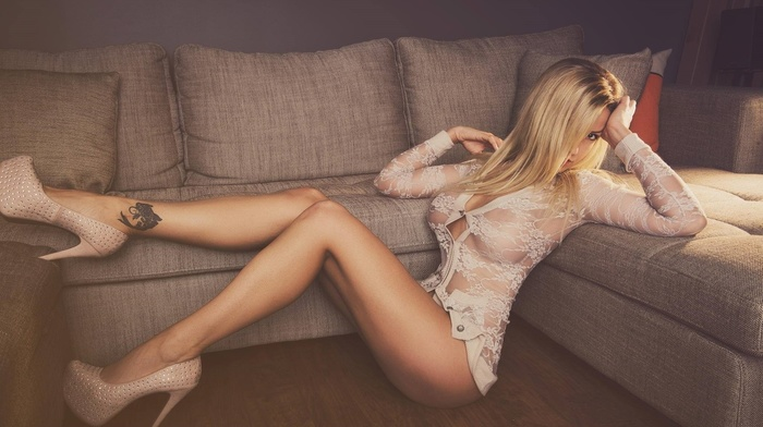 sitting, boobs, ass, girl, tattoo, skirt, nipples through clothing, couch, white dress, legs, on the floor, hair, high heels, long hair, blonde, girl, looking at viewer, see, through clothing, model, dress, open mouth, tattoos, stiletto
