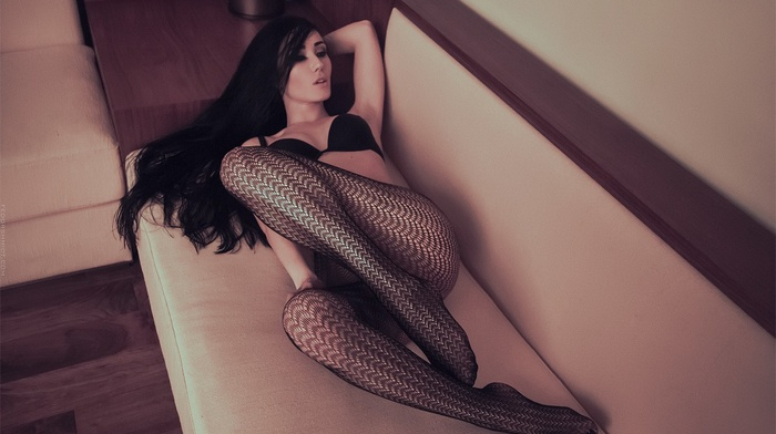 ass, black bras, model, long hair, Fedor Shmidt, fishnet stockings, couch, girl, black hair, armpits, looking away