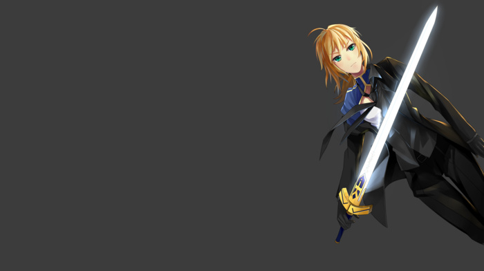 fate series, suits, sword, anime, weapon, blonde, Saber, anime girls