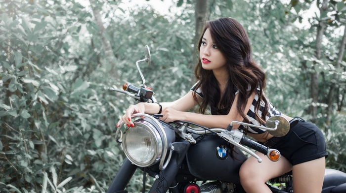 girl, girl with bikes, trees, BMW, nature, shorts, short shorts, hair, Asian, brunette, forest, model