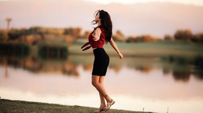 tattoo, girl outdoors, model, happiness, girl, shirt, lake, depth of field, nature, smiling, skirt, long hair, reflection, trees, checkered, closed eyes, dancing, brunette, happy