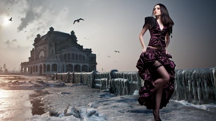 girl, model, black stockings, birds, cranes machine, running, photo manipulation, old building, clouds, girl outdoors, high heels, dress, long hair, ice, brunette, sunlight, winter