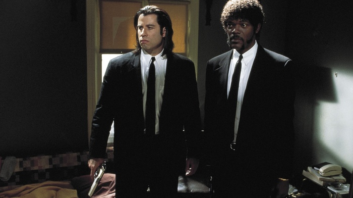 film stills, John Travolta, samuel l. jackson, tie, vincent vega, gangsters, quentin tarantino, gun, movies, bed, long hair, actor, Jules Winnfield, Afro, room, suits, men, Pulp Fiction