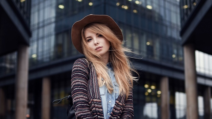 girl outdoors, blonde, Maxim Guselnikov, depth of field, straight hair, face, long hair, girl, hat, sweater, blue eyes, looking at viewer, Irina Popova