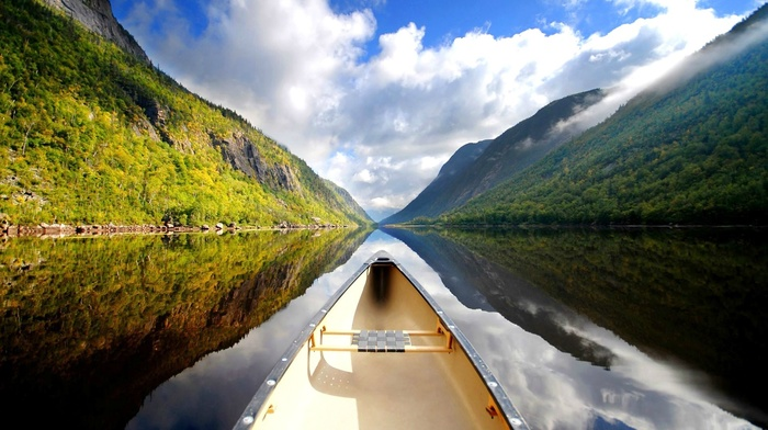 sky, water, canoes, mountain, clouds, nature, green