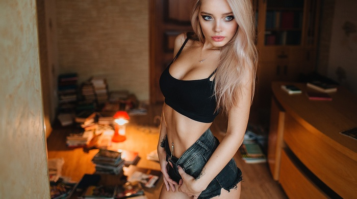 looking away, portrait, Evgeny Freyer, black tops, blonde, model, jean shorts, pierced navel, flat belly, girl