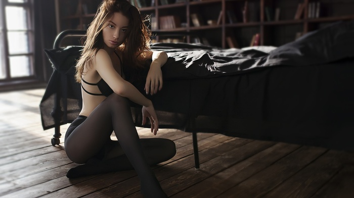 portrait, pantyhose, sitting, black lingerie, Marie Kirilenko, model, wooden surface, bed, looking at viewer, girl