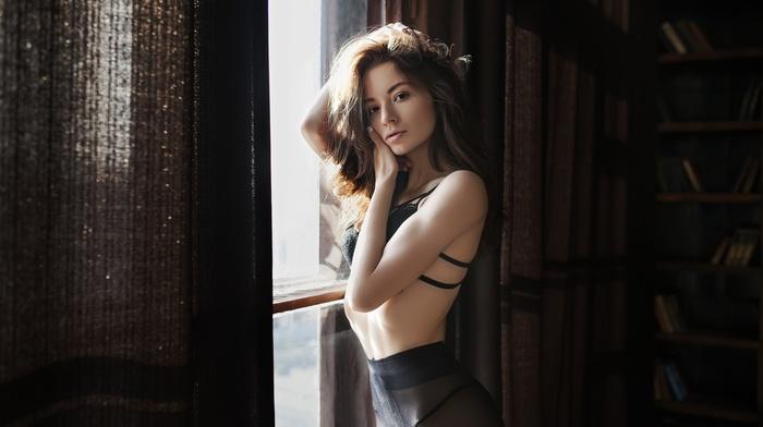 black lingerie, flat belly, skinny, Marie Kirilenko, window, girl, portrait, looking at viewer, pantyhose, model
